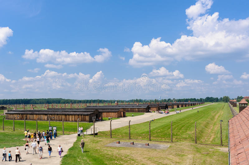 Auschwitz II - Birkenau Sector II. OSWIECIM, POLAND - JULY 3, 2009: Auschwitz II - Birkenau, Sector II as viewed from the Gate of Death watch tower stock images