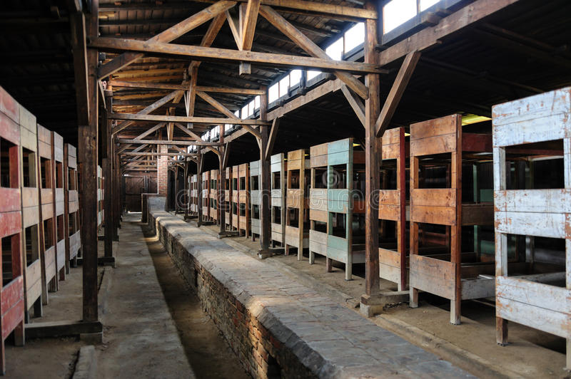 Auschwitz II - Birkenau wooden barracks interior. Auschwitz II - Birkenau wooden barracks. The long duct along the center of the floor was supposed to heat the royalty free stock photography