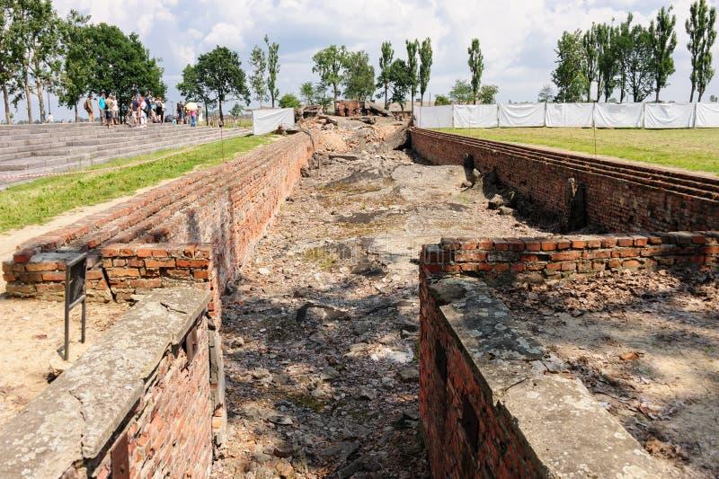 Auschwitz II - cámara de desnudez subterráneo de Birkenau fotografía de archivo