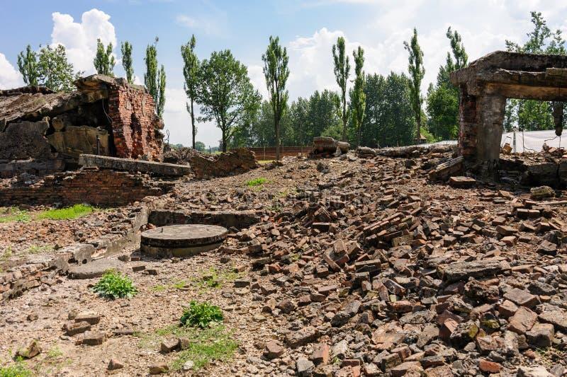 Auschwitz II - crematório II de Birkenau fotos de stock