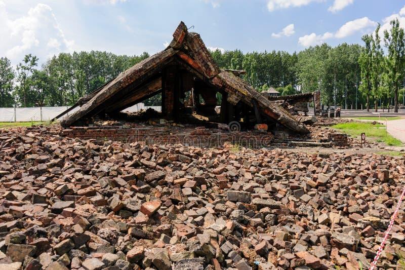 Auschwitz II - crematório II de Birkenau imagens de stock