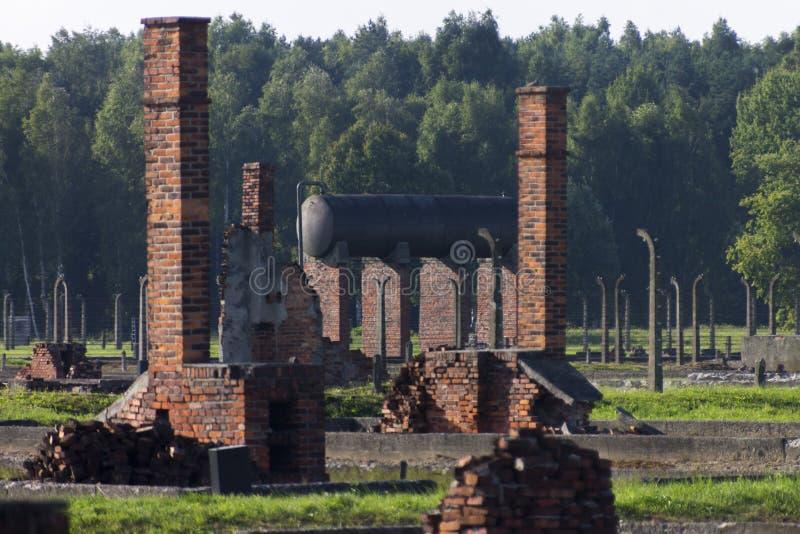 Auschwitz II - Strukturen des Birkenau-Ausrottungs-Lagers im Freien lizenzfreie stockfotografie
