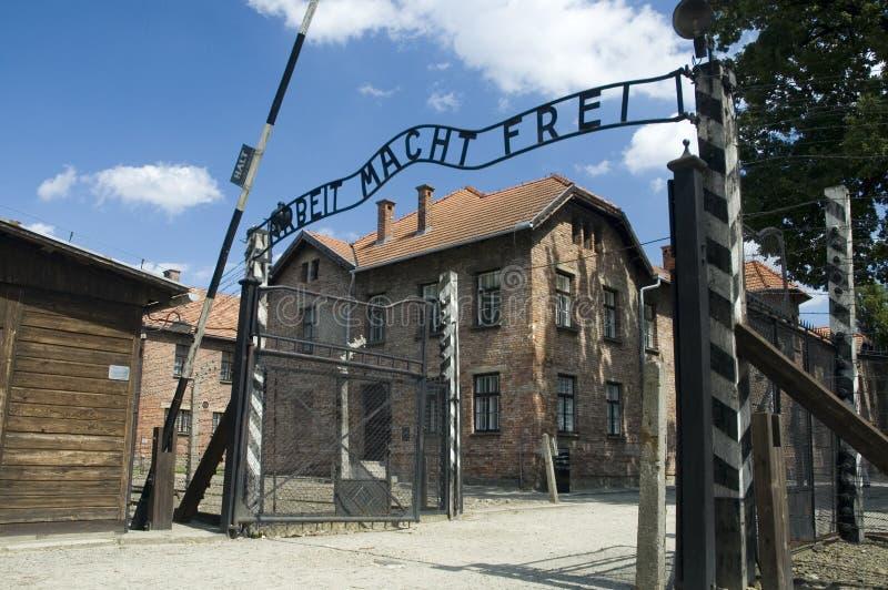 Auschwitz - ingangspoort royalty-vrije stock foto's