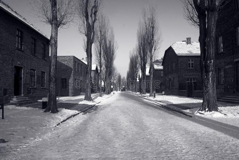 Auschwitz no inverno foto de stock