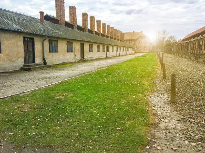 Auschwitz/Polônia - 08 07 2016: Campo de concentração Auschwitz-Birkenau em Oswiecim, Polônia imagem de stock