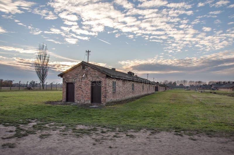 AUSCHWITZ, POLAND. Barracks in Auschwitz II–Birkenau concentration camp. Construction on Auschwitz II-Birkenau began in October 1941 to ease congestion at stock photography