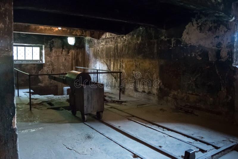 AUSCHWITZ, POLAND - JULY 2017: Crematorium in Auschwitz Camp I. AUSCHWITZ, POLAND - JULY 2017: The crematorium in Auschwitz Camp I royalty free stock photos