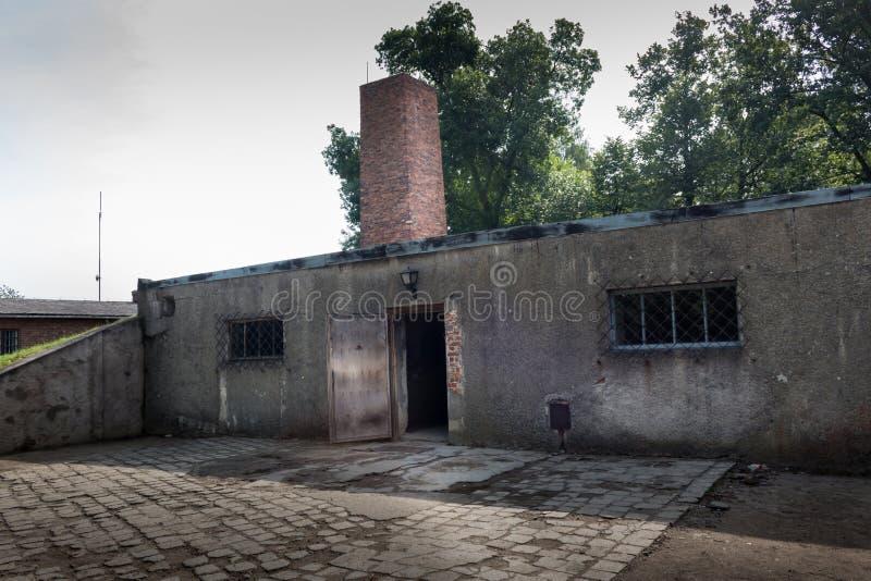 AUSCHWITZ, POLAND - JULY 2017: Crematorium in Auschwitz Camp I. AUSCHWITZ, POLAND - JULY 2017: The entrance in the gas chamber and crematorium in Auschwitz Camp royalty free stock photography