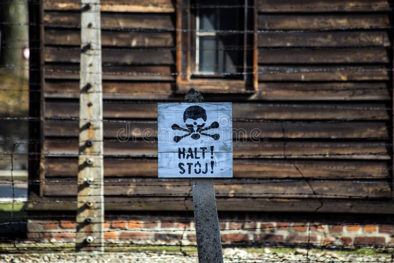 Auschwitz, Poland - March 12, 2019 Stop death sign at the Auschwitz Birkenau concentration camp. Warning stock images