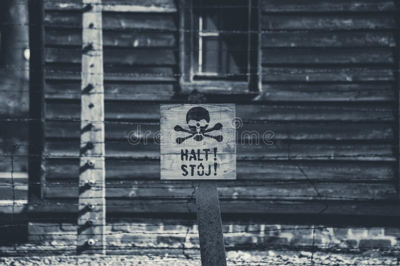Auschwitz, Poland - March 12, 2019 Stop death sign at the Auschwitz Birkenau concentration camp. Warning stock photography