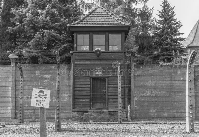 The extermination camp of Auschwitz, Poland. Auschwitz, Poland - the most deadliest among the extermination camps built during the holocaust, Auschwitz still stock photos