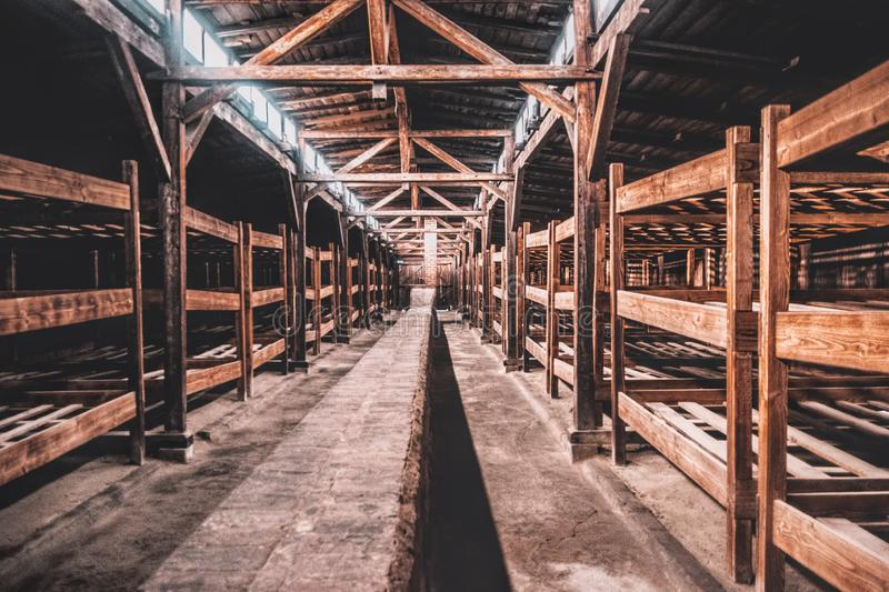 Territory of the Nazi concentration labor camp Auschwitz-Birkenau in Poland. Holocaust in Europe royalty free stock photography