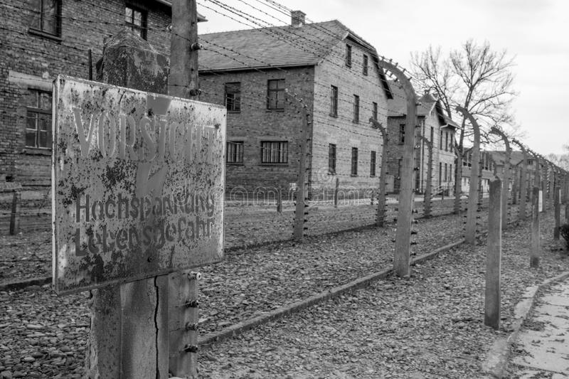 Inside the Nazi Concentration Camp of Auschwitz 1 showing the barrack buildings where prisoners lived in appalling conditions. Auschwitz Poland & x28;Oswiecim& royalty free stock photo