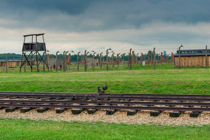 Auschwitz, Polen - Augustus 12, 2017: Het concentratiekamp van Auschwitzbirkenau stock fotografie