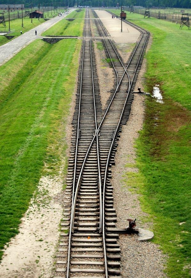 Auschwitz, Polen: De Sporen van de trein royalty-vrije stock foto's