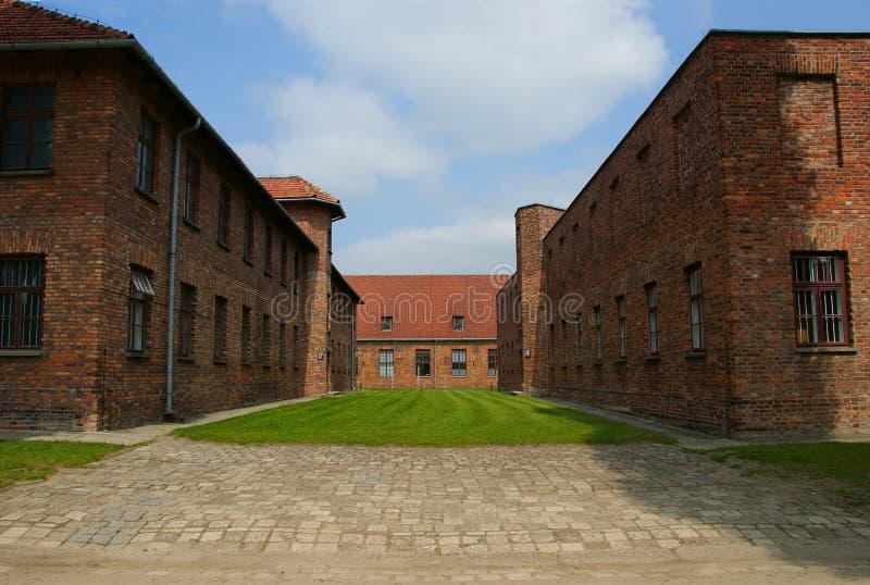 Auschwitz, Polen/MEI 28 2008: Gevangene` s barakken in het kamp van Auschwitz - van de concentratie en van de uitroeiing van Birk stock afbeelding