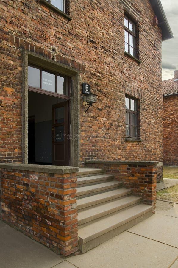 AUSCHWITZ, POLONIA - 30 de marzo de 2012: acuartele el número 6 en Birkenau, Treblinka 2 Oswiecim, Polonia fotos de archivo libres de regalías