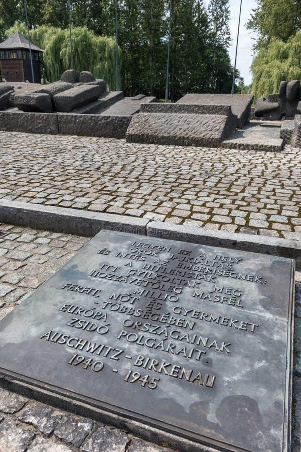 AUSCHWITZ POLSKA, LIPIEC, - 2017 Auschwitz Birkenau koncentracyjnego obozu węgra zabytek zdjęcie royalty free