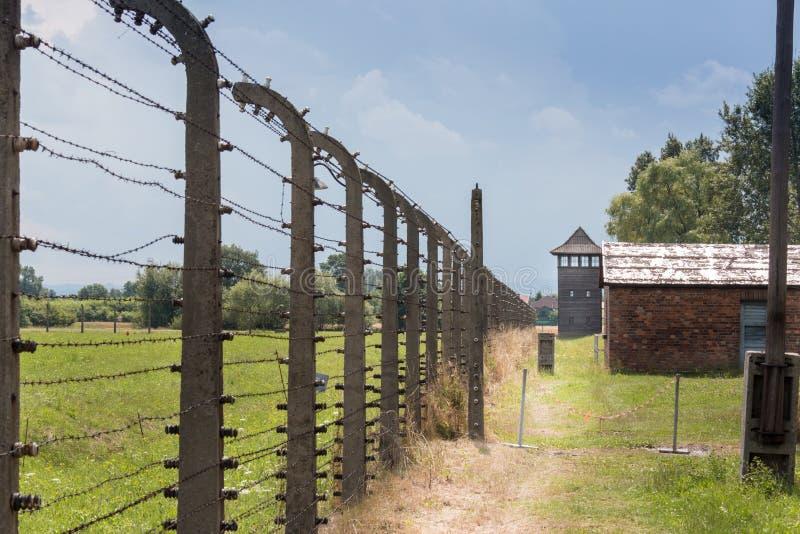 AUSCHWITZ POLSKA, LIPIEC, - 2017 Auschwitz Birkenau koncentracyjny obóz, obraz stock