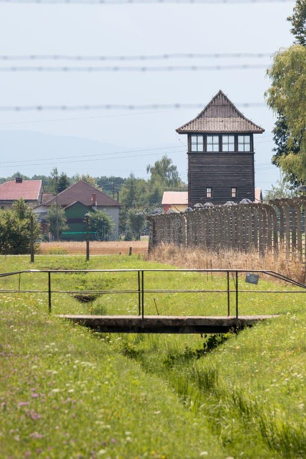 AUSCHWITZ POLSKA, LIPIEC, - 2017 auschwitz birkenau obozu koncentracja zdjęcie stock
