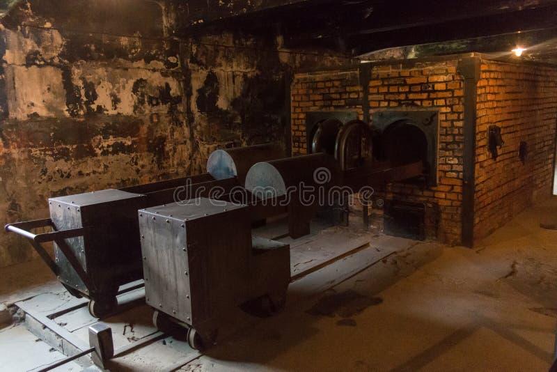 AUSCHWITZ POLSKA, LIPIEC, - 2017: Crematorium w Auschwitz obozie Ja zdjęcia royalty free