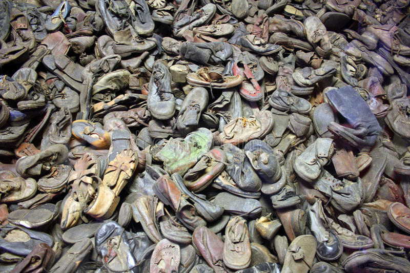 Auschwitz - shoes stock photo