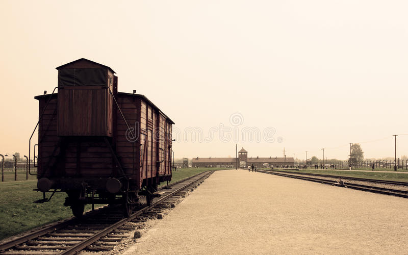 Auschwitz train stock photos