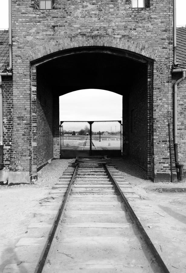 Auschwitzspoor royalty-vrije stock foto