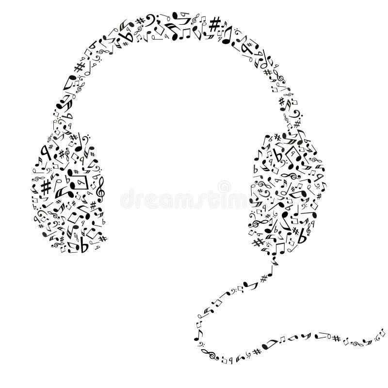 Auscultadores abstratos da música ilustração do vetor