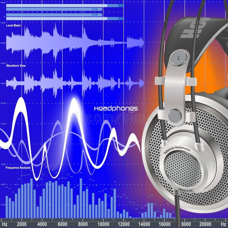 Auscultadores e equalizador audio ilustração stock