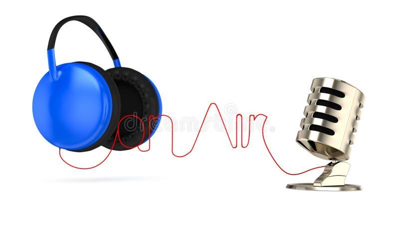 Auscultadores e microfone ilustração stock
