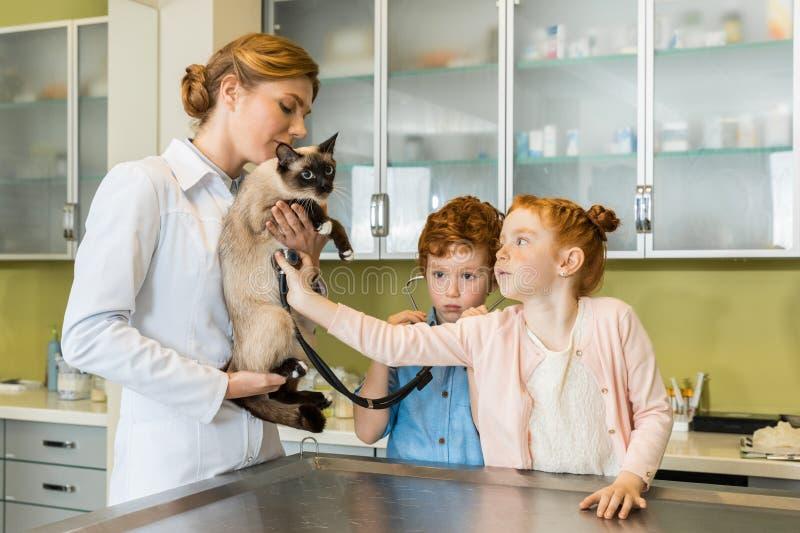 Ausculting Katze des netten roten behaarten Mädchens an der Klinik lizenzfreie stockbilder