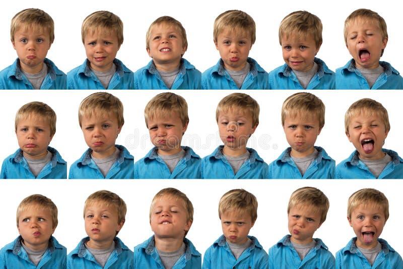 Ausdrücke - alter Fünfjahresjunge stockbild