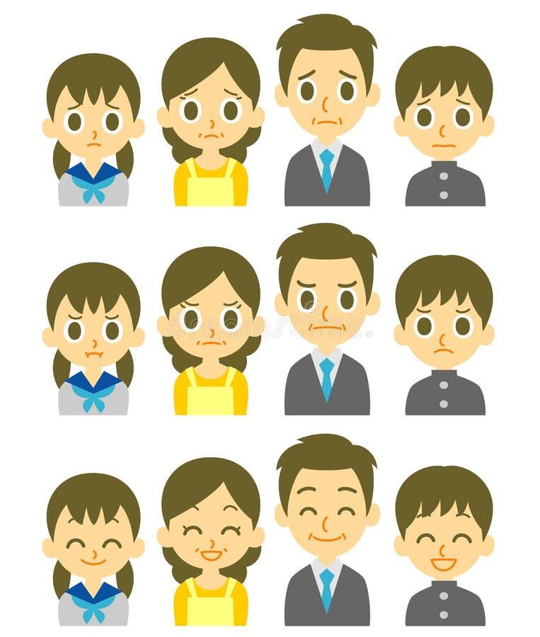 Ausdrücke der vierköpfigen Familie stock abbildung