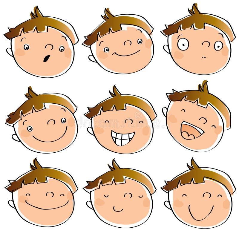 Ausdrücke des lustigen Kindes vektor abbildung