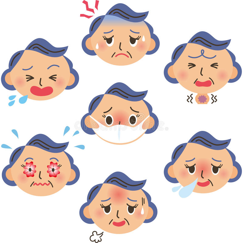 Ausdruck der kranken Großmutter lizenzfreie abbildung