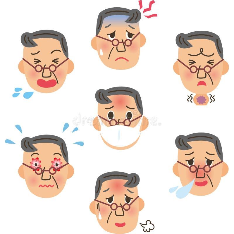 Ausdruck des kranken Großvaters stock abbildung