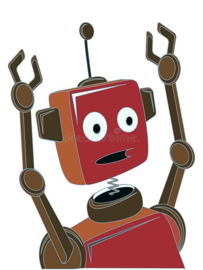 Ausdruck-Greiferarme der Karikatur Roboter überraschte vektor abbildung