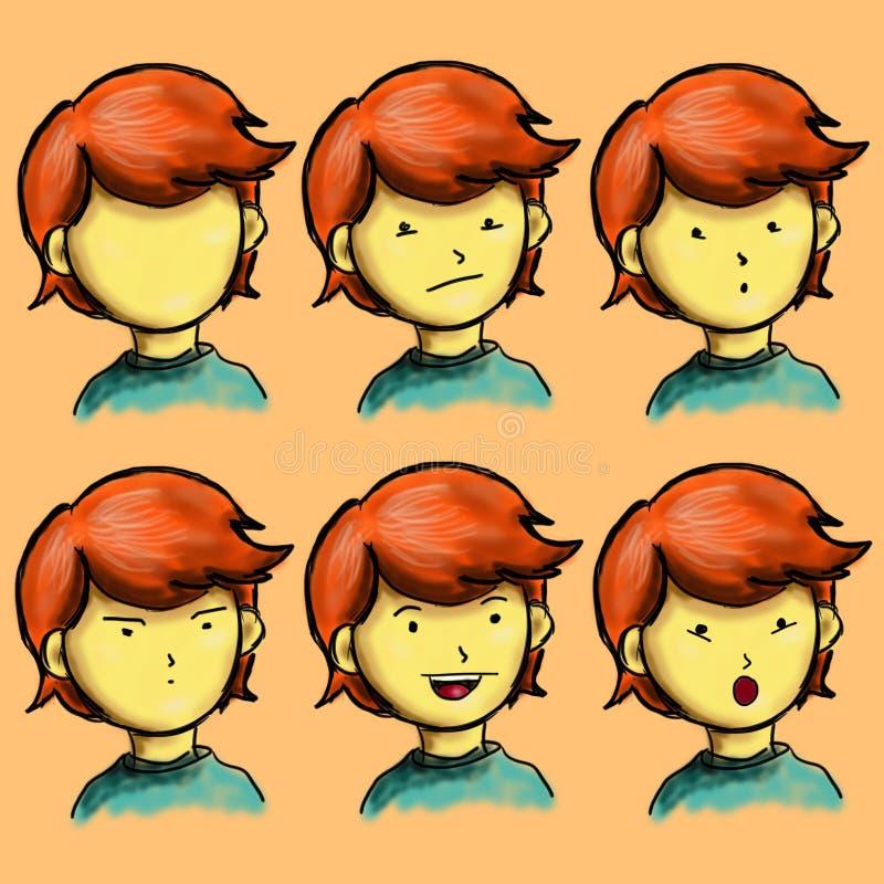 Ausdruck-Jungen-Charakter stockbilder