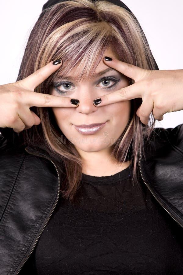 Ausdruckmädchenhände auf Gesicht stockfotos