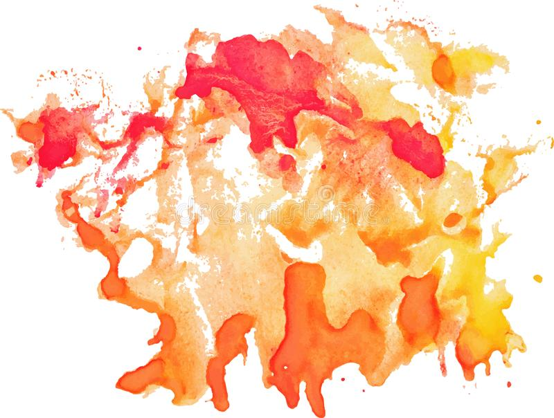 Ausdrucksvoller abstrakter Aquarellfleck mit spritzt und fällt vektor abbildung