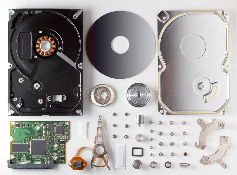 Auseinandergebautes Festplattenlaufwerk HDD stockfoto