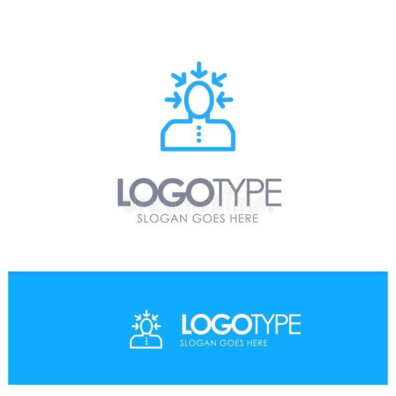 Auserlesen, wählend, Kritik, menschlich, blaues Logo Entwurf der Person mit Platz für Tagline lizenzfreie abbildung