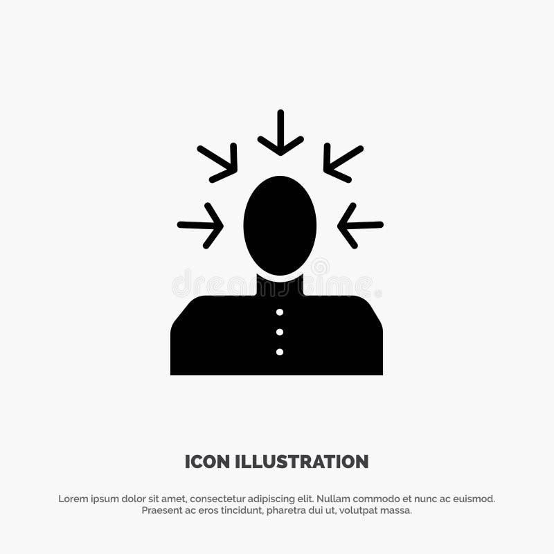 Auserlesen, wählend, Kritik, menschlich, Person fester Glyph-Ikonenvektor stock abbildung
