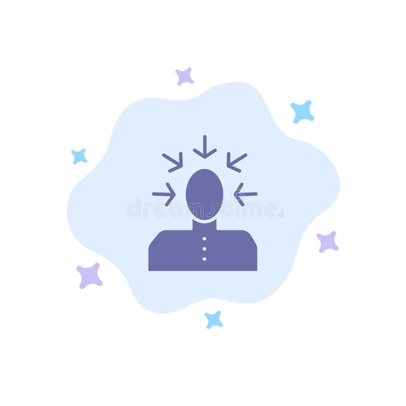 Auserlesen, wählend, Kritik, menschlich, Personen-blaue Ikone auf abstraktem Wolken-Hintergrund lizenzfreie abbildung