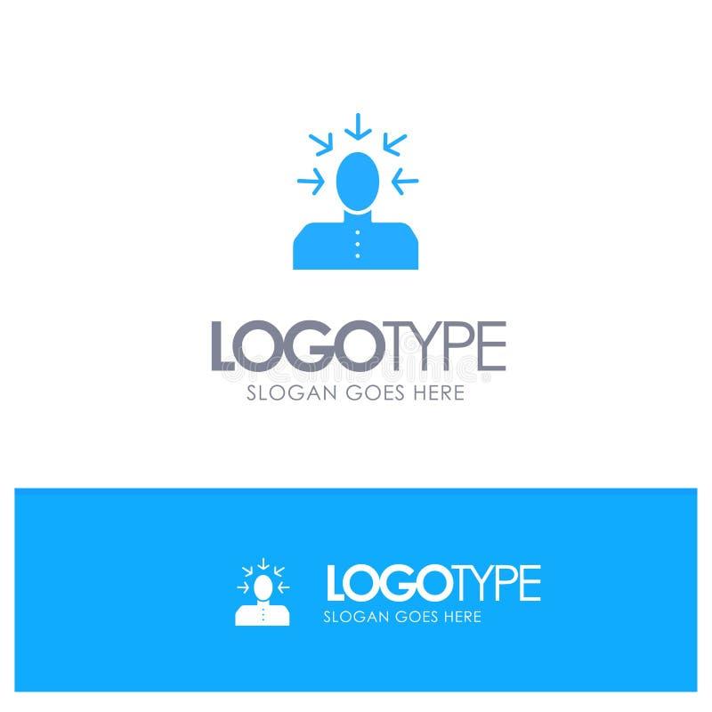 Auserlesen, wählend, Kritik, menschlich, Personen-blaues festes Logo mit Platz für Tagline lizenzfreie abbildung