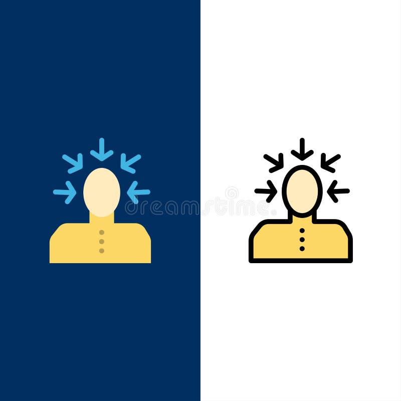 Auserlesen, wählend, Kritik, menschlich, Personen-Ikonen Ebene und Linie gefüllte Ikone stellten Vektor-blauen Hintergrund ein stock abbildung