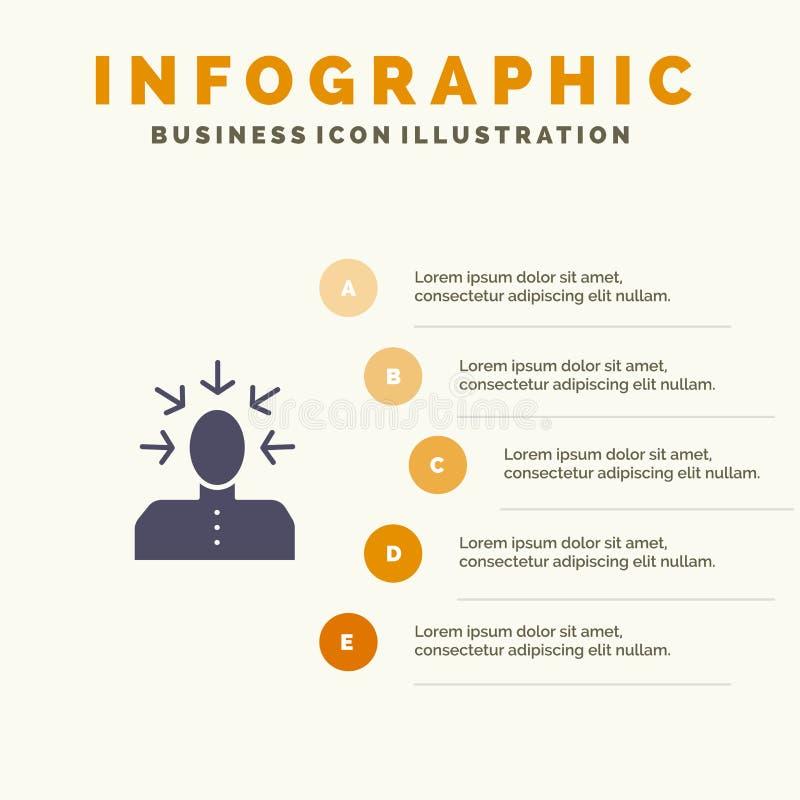 Auserlesen, wählend, Kritik, menschlich, Schritt-Darstellungs-Hintergrund Personen-fester Ikone Infographics 5 vektor abbildung