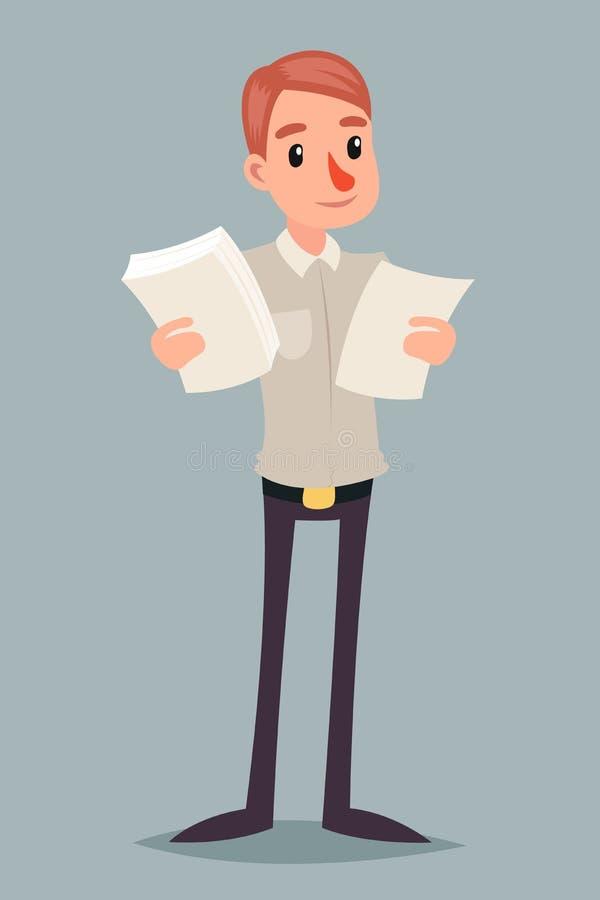 Auserlesene Beschlussfassungs-Geschäftsmann-Character Icon Retro-Karikatur-Design-Vektor-Illustration lizenzfreie abbildung