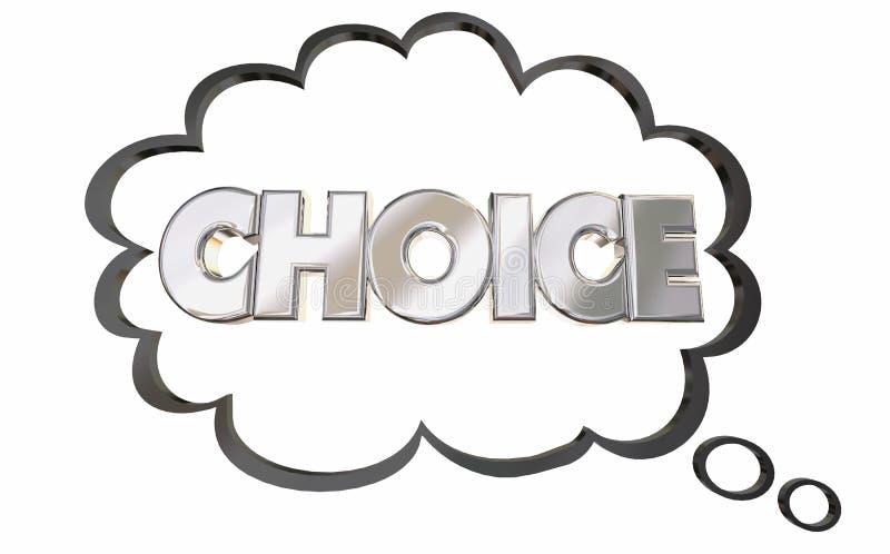 Auserlesene Gedanken-Wolke wählen die ausgewählte Wort-Auswahl stock abbildung